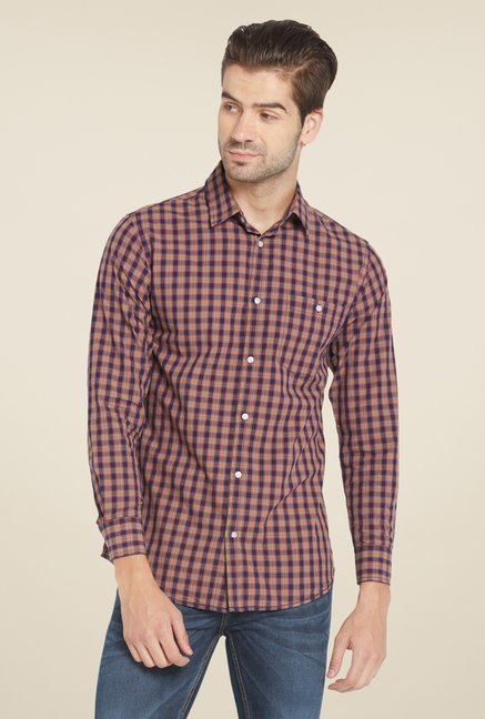 Globus Maroon Checked Shirt