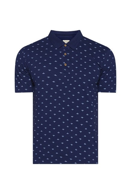 Westsport by Westside Navy Printed Polo T Shirt