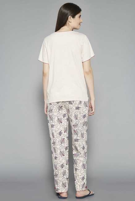 Intima by Westside Cream Printed Pyjama Set