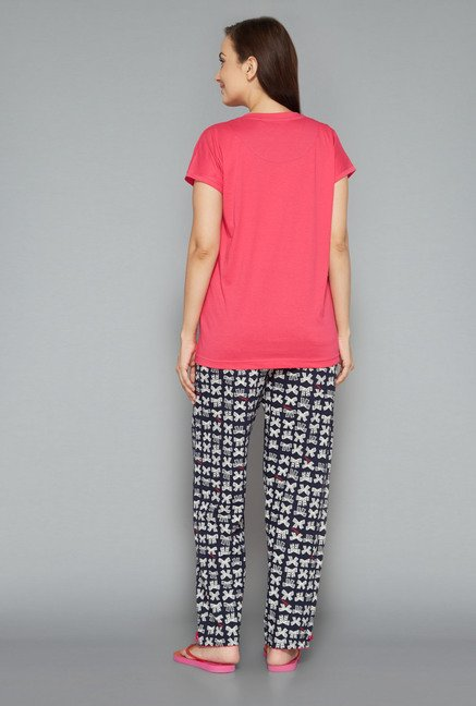 Intima by Westside Navy & Pink Printed Pyjama Set