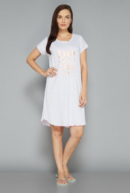 Intima by Westside Off White Printed Nightdress