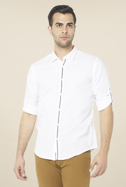Globus White Solid Linen Shirt