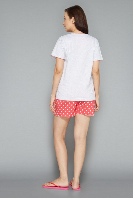 Intima by Westside Pink & Off White Printed Shorts Set