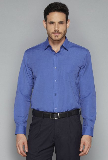 Weststreet by Westside Dark Blue Solid Shirt