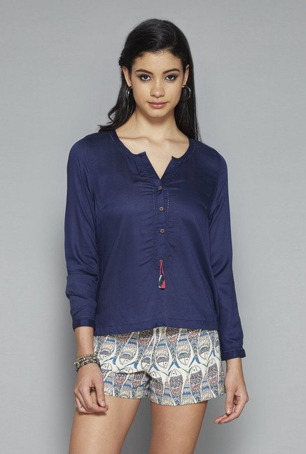 Bombay Paisley by Westside Navy Solid Top