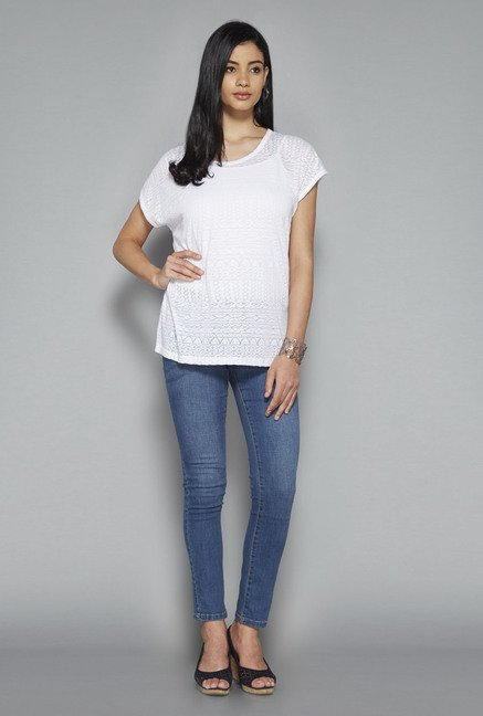 LOV by Westside White Self Print Zelia Top