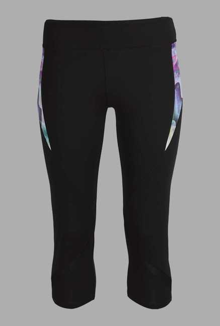 Doone Black Solid Training Capris
