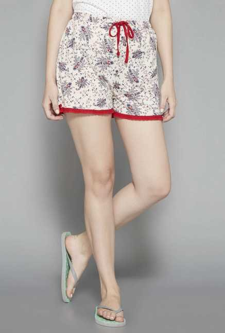 Intima by Westside Cream Printed Shorts