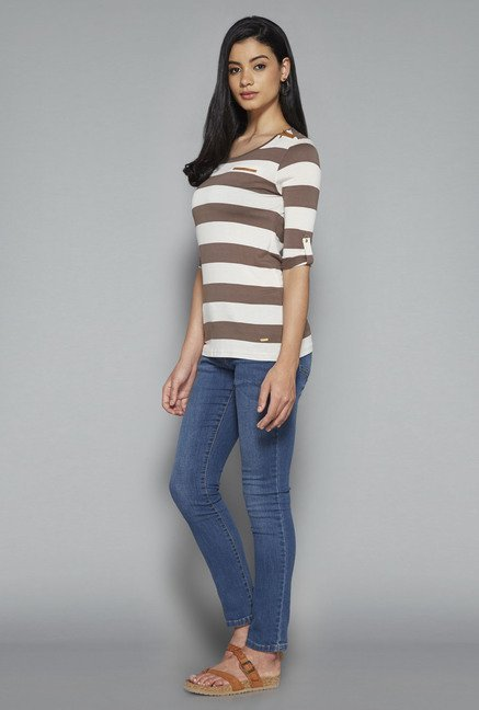 LOV by Westside White Striped Valencia Top