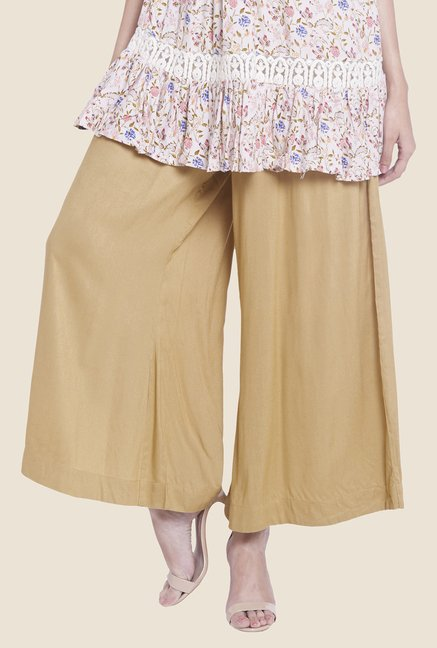 Globus Beige Solid Palazzos