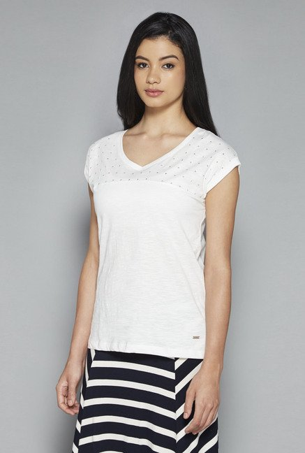 LOV by Westside White Embellished Delta Top
