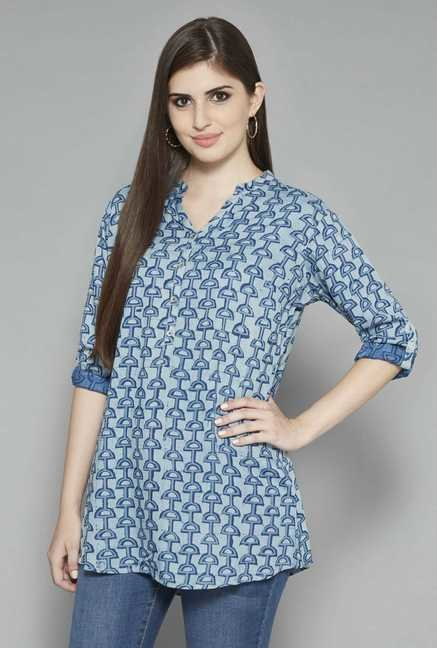Utsa by Westside Blue Printed Kurti