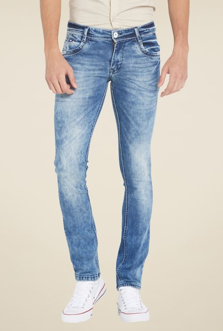 Globus Blue Acid Wash Skinny Fit Denim Jeans