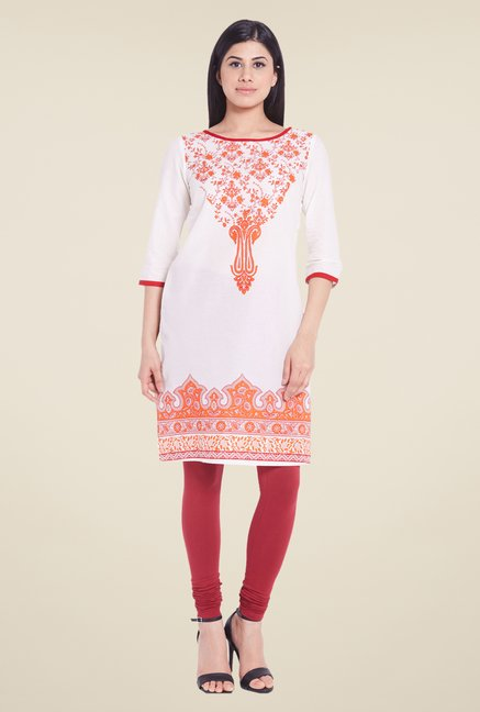 Globus White Cotton Kurti