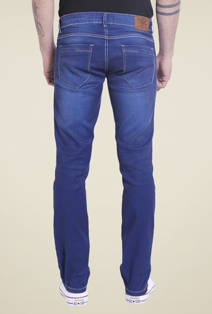 Globus Blue Lightly Washed Skinny Fit Denim Jeans