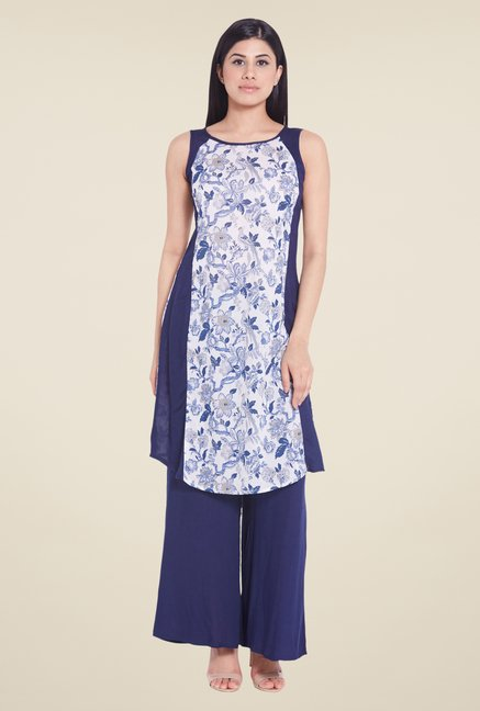 Globus Blue Sleeveless Kurti