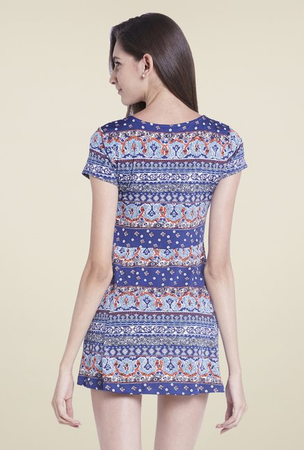 Globus Blue Printed A Line Dress
