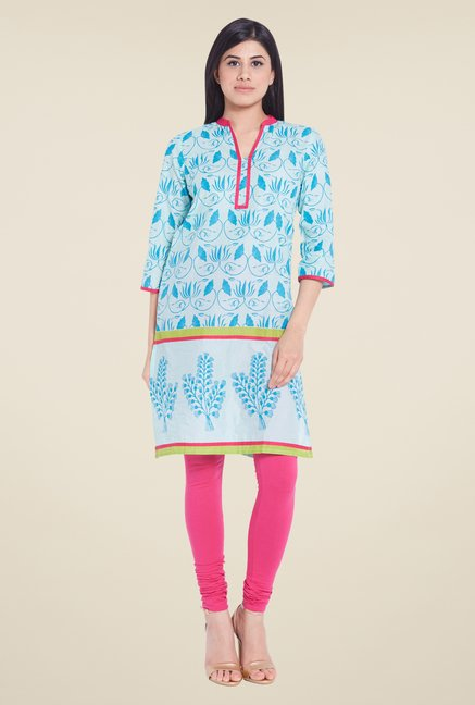 Globus Blue Regular Fit Kurti