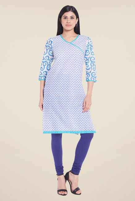 Globus White Cotton V Neck Kurti