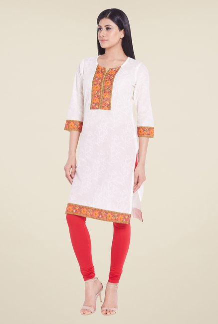 Globus White Regular Fit Kurti