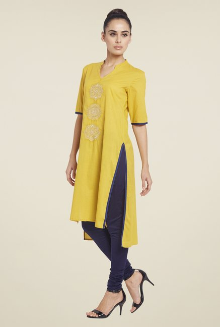 Globus Yellow Solid Cotton Kurti
