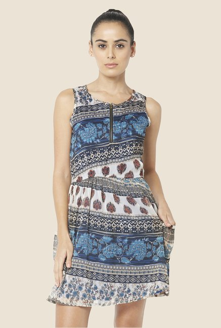 Globus Blue Printed Mini Dress