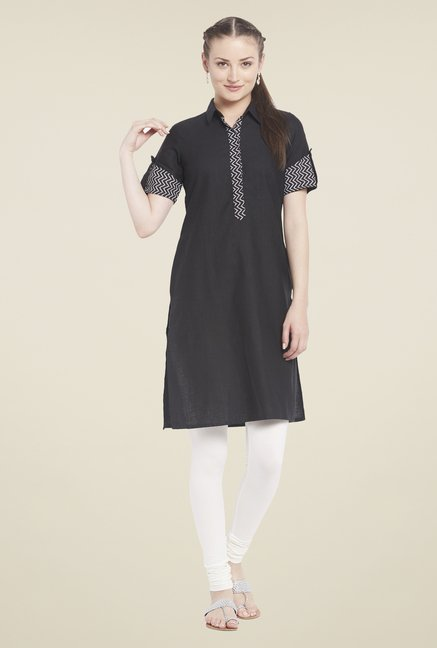 Globus Black Shirt Collar Kurti