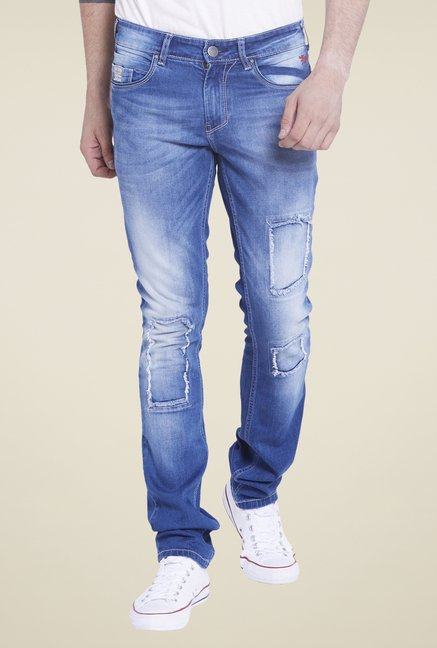 Globus Blue Tattered Slim Fit Jeans