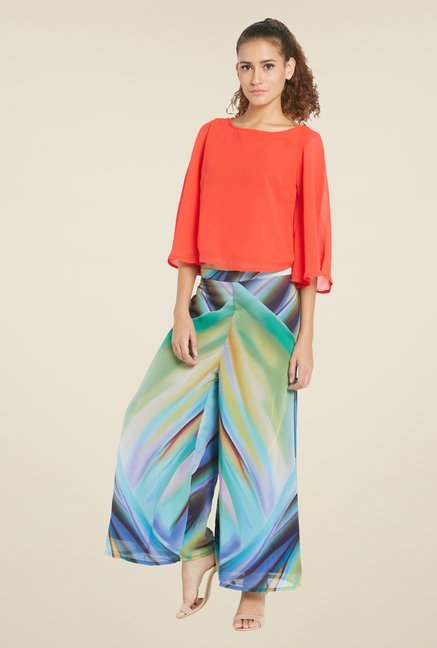 Globus Multicolor Printed Flat Front Palazzos
