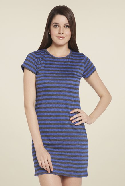 Globus Blue & Grey Striped Dress
