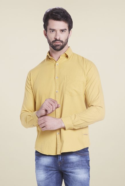 Globus Mustard Yellow Solid Shirt
