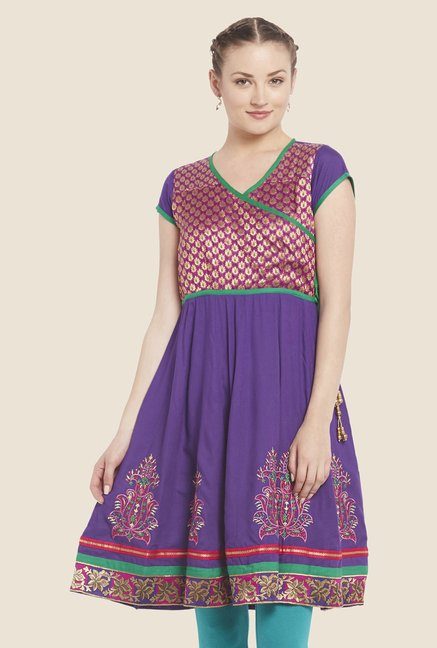 Globus Purple Embroidered Kurti