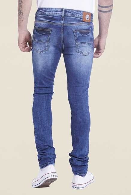 Globus Indigo Tattered Slim Fit Jeans