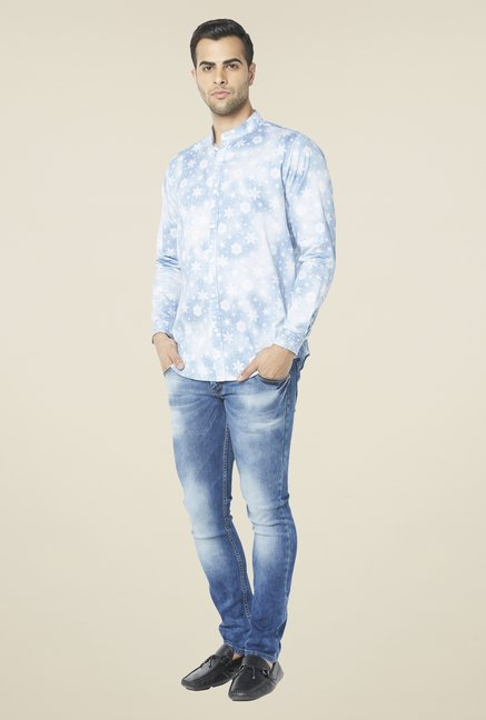 Globus Light Blue Snowflake Print Shirt