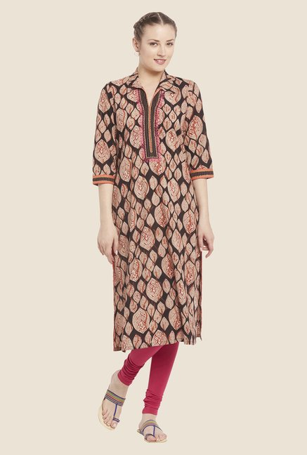 Globus Brown Cotton Kurta