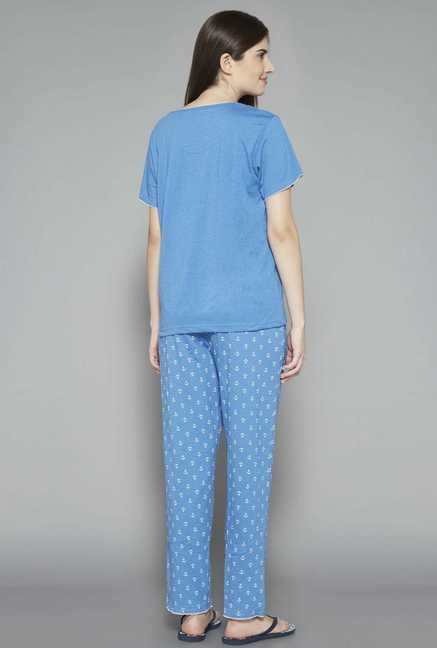 Intima by Westside Blue Printed Pyjama Set