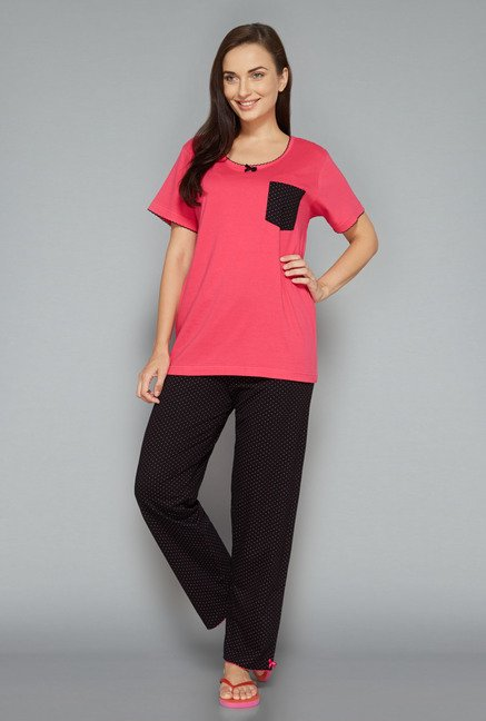 Intima by Westside Black & Pink Printed Pyjama Set