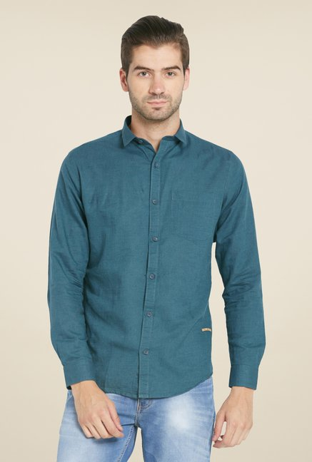 Globus Teal Green Solid Linen Shirt