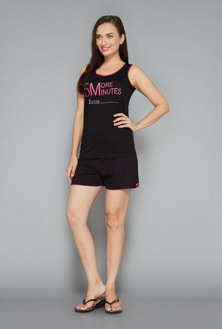 Intima by Westside Black Printed Shorts Set