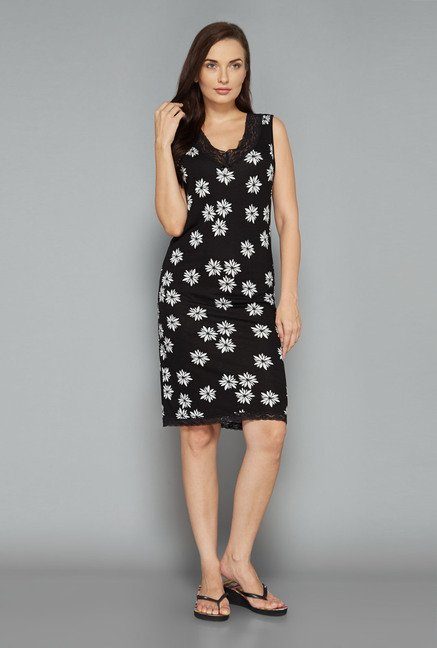 Intima by Westside Black Floral Nightdress