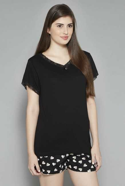 Intima by Westside Black Solid Top