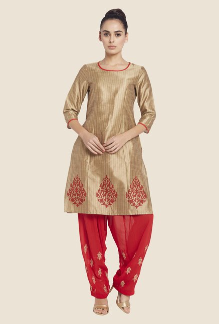 Globus Red Embroidered Salwar