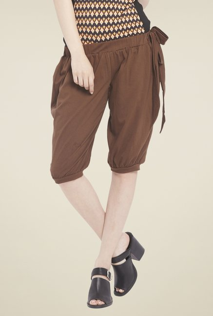 Globus Brown Solid Capris