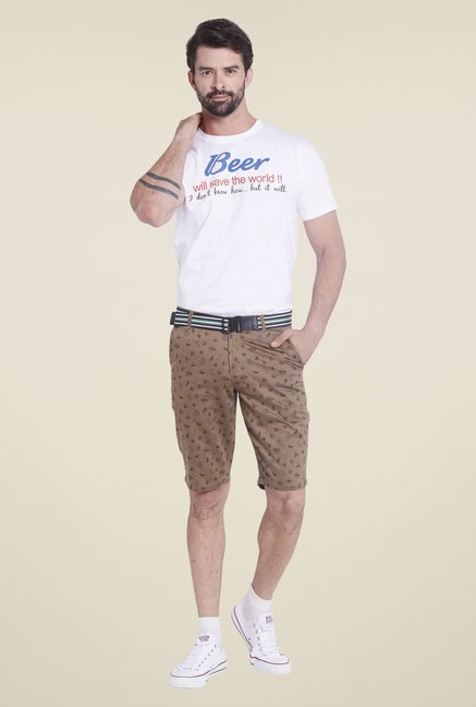 Globus Brown Printed Shorts