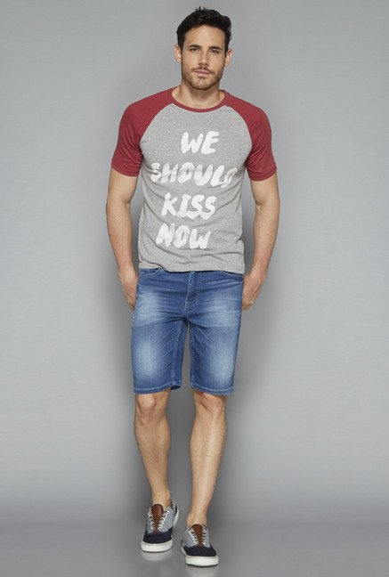 Nuon by Westside Grey Printed T Shirt