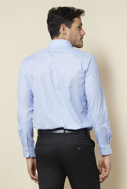 Zudio Blue Self Print Shirt