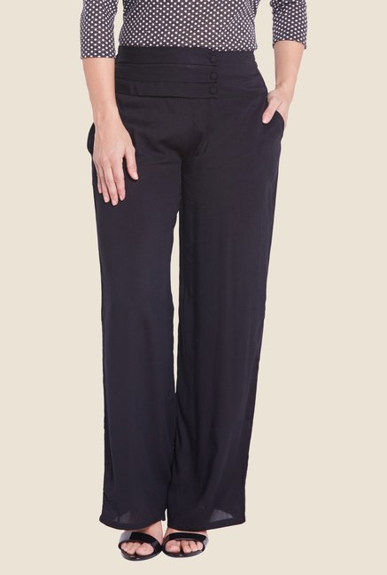 Globus Black Solid Trousers