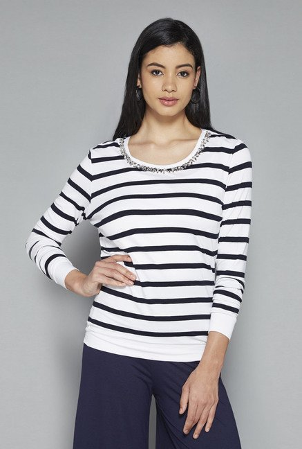 LOV by Westside White Striped Jewel Top