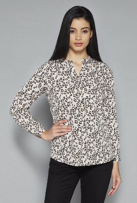 LOV by Westside Beige Printed Jeonnia Blouse