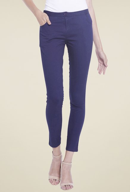 Globus Navy Solid Cotton Trousers